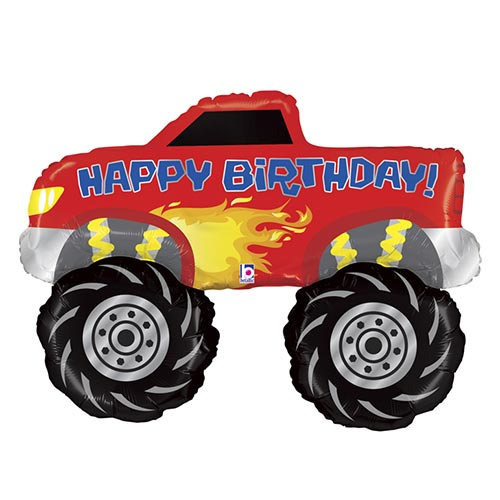 Monster Truck Birthday Helium Foil Giant Balloon 102cm / 40 in Product Image