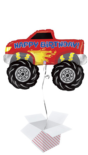 Monster Truck Birthday Helium Foil Giant Balloon - Inflated Balloon in a Box