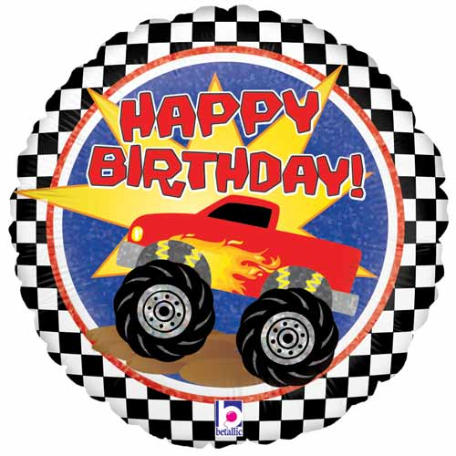 Monster Truck Birthday Holographic Round Foil Helium Balloon 46cm / 18 in