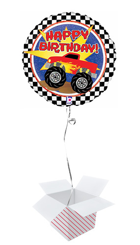 Monster Truck Birthday Holographic Round Foil Helium Balloon - Inflated Balloon in a Box