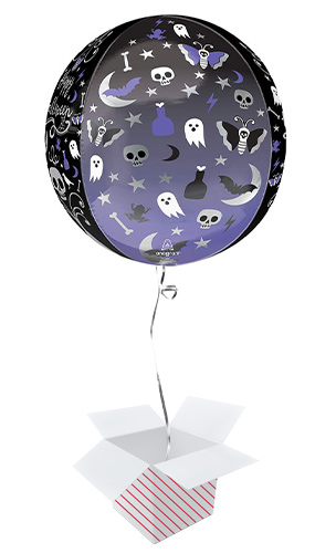 Moonlight Halloween Orbz Foil Helium Balloon - Inflated Balloon in a Box Product Gallery Image