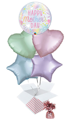 Mother's Day Floral Pastel Bubble Balloon Bouquet - 5 Inflated Balloons In A Box Product Image