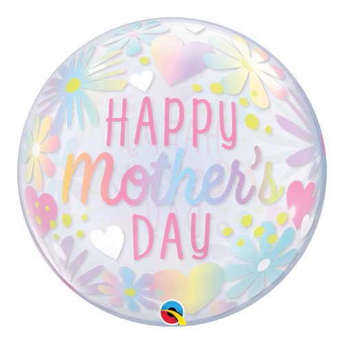 Mother's Day Floral Pastel Bubble Helium Qualatex Balloon 56cm / 22 in Product Image