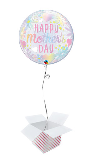 Mother's Day Floral Pastel Bubble Helium Qualatex Balloon - Inflated Balloon in a Box Product Image