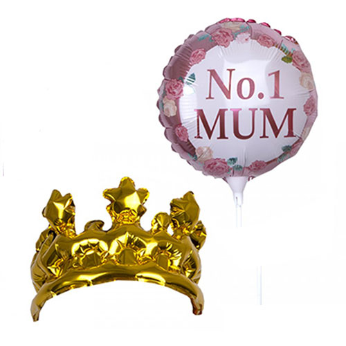 Mother's Day No. 1 Mum Air Fill Foil Balloon and Inflatable Foil Crown Kit Product Image