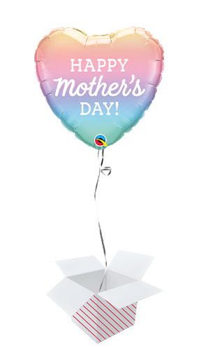 Mother's Day Pastel Ombre Heart Shape Foil Helium Qualatex Balloon - Inflated Balloon in a Box Product Image