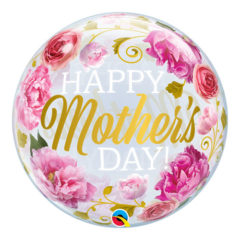 Mother's Day Pink Peonies Bubble Helium Qualatex Balloon 56cm / 22 in Product Image