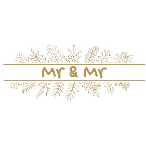 Mr & Mr Foliage Wedding PVC Party Sign Decoration 60cm x 25cm Product Image