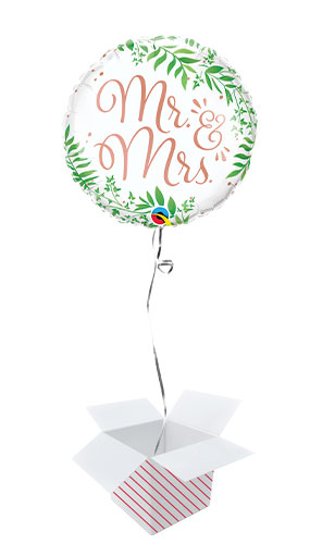 Mr & Mrs Elegant Greenery Round Foil Helium Qualatex Balloon - Inflated Balloon in a Box Product Image