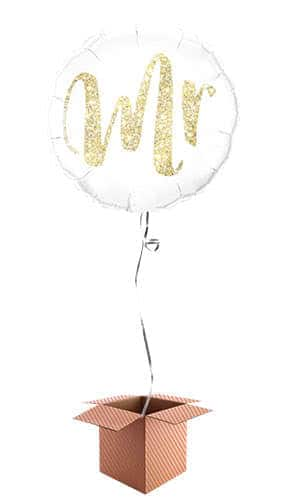 Mr Glitter Gold Helium Foil Qualatex Balloon - Inflated Balloon in a Box Product Image