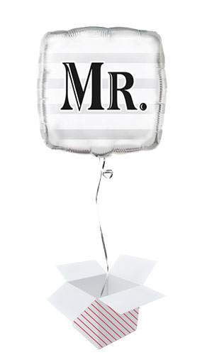 Mr Silver Square Foil Balloon - Inflated Balloon in a Box