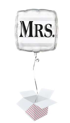 Mrs Silver Square Foil Balloon - Inflated Balloon in a Box Product Image
