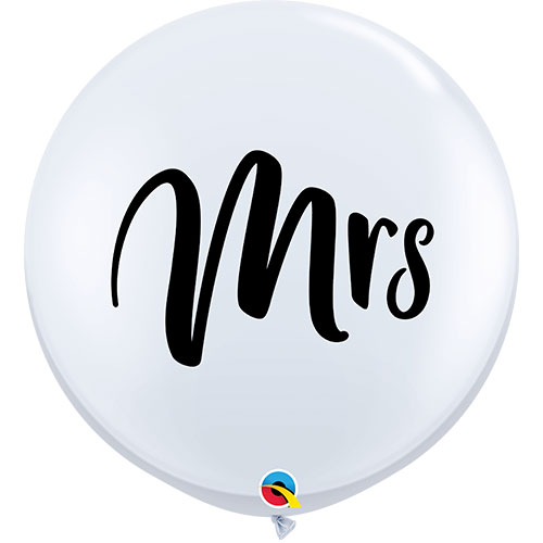 Mrs White Jumbo Round Latex Balloons 91cm / 36Inch - Pack of 2 Product Image