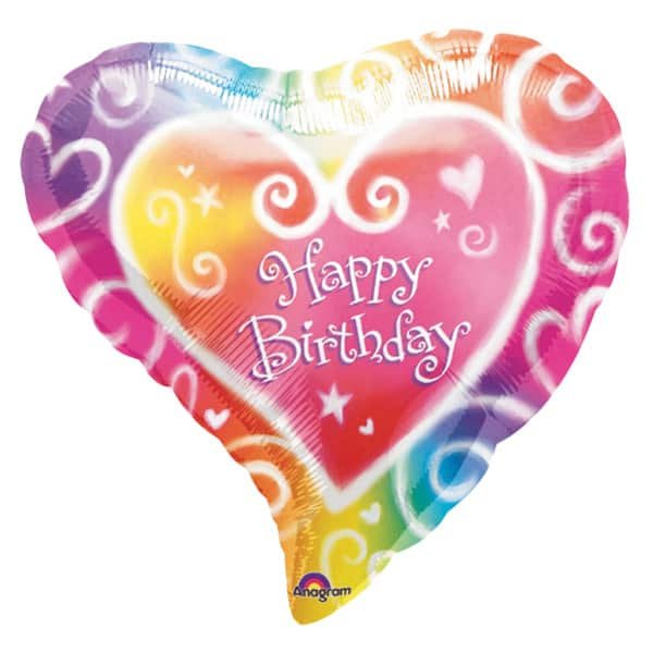 Multi Coloured Heart Shape Foil Balloon - 18 Inches / 46cm Product Image