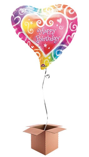 Multi Coloured Heart Shape Foil Balloon - Inflated Balloon in a Box Product Image
