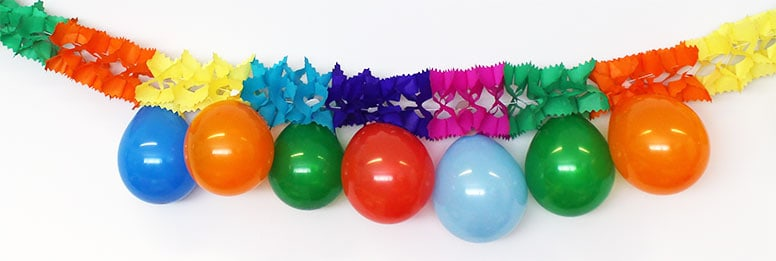 Multi Coloured Garland With 10 Hanging Balloons - 3m