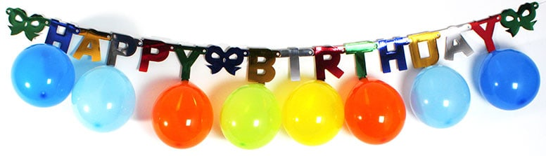 Multi Coloured Happy Birthday Banner with 10 Hanging Balloons 2m