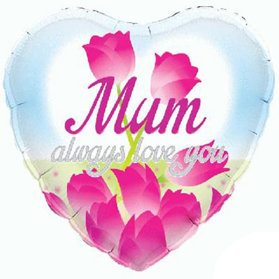 Mum Always Love You Heart Shape Foil Helium Balloon 46cm / 18Inch Product Image