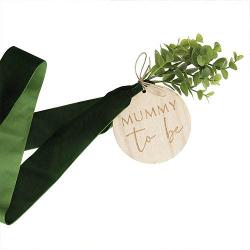Baby Shower Mummy To Be Belly Velvet Sash With Wooden Tag Product Gallery Image