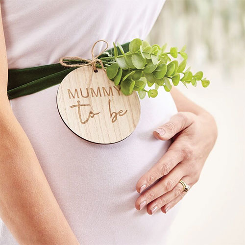 Baby Shower Mummy To Be Belly Velvet Sash With Wooden Tag