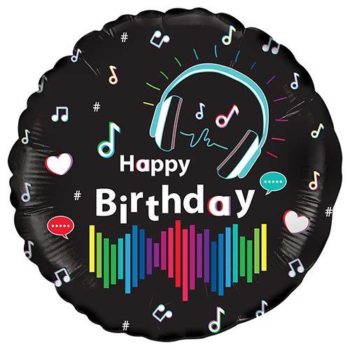 Musical Happy Birthday Round Foil Helium Balloon 46cm / 18 in