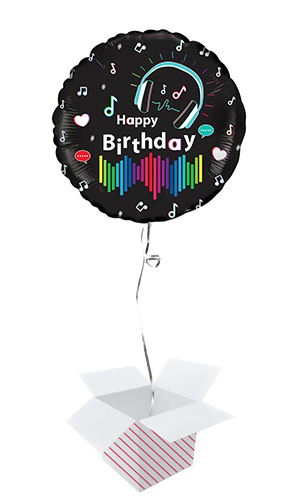 Musical Happy Birthday Round Foil Helium Balloon - Inflated Balloon In A Box Product Image