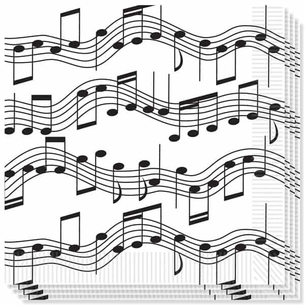 Musical Notes Theme 2 Ply Luncheon Napkins - 13 Inches / 33cm - Pack of 16 Bundle Product Image