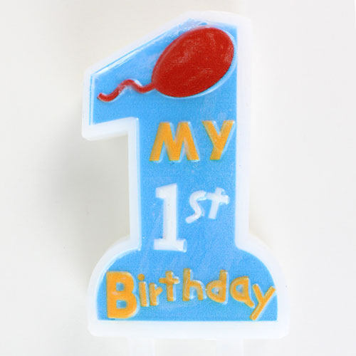My First Birthday Blue Candle With Holder 11cm