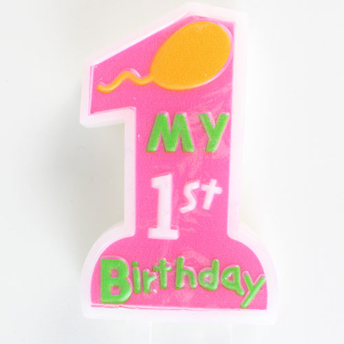 My First Birthday Pink Candle With Holder 11cm