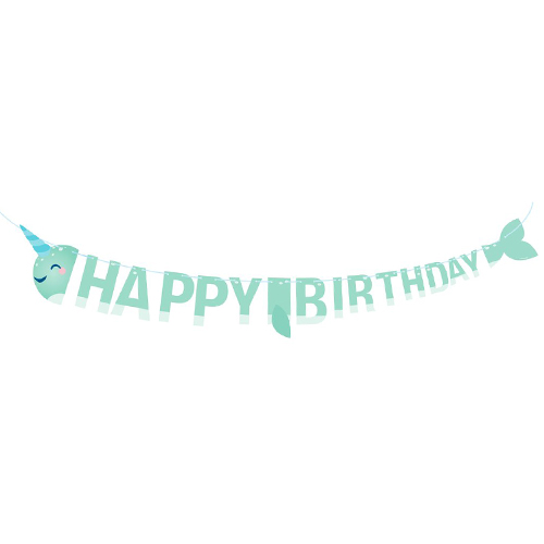 Narwhal Party Shaped Happy Birthday Cardboard Letter Banner 207cm