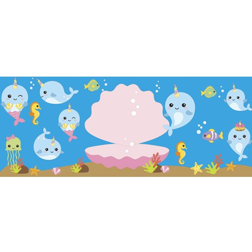 Narwhal Shell Undersea PVC Party Sign Decoration 60cm x 25cm Product Image