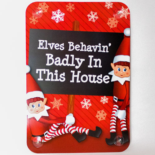 Assorted Naughty Elves Christmas Window Sign Decoration Product Gallery Image
