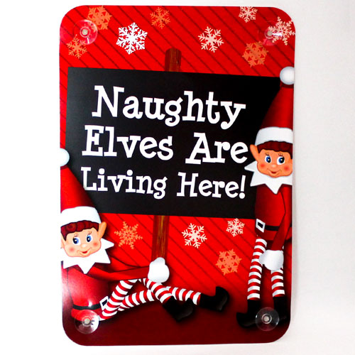 Assorted Naughty Elves Christmas Window Sign Decoration