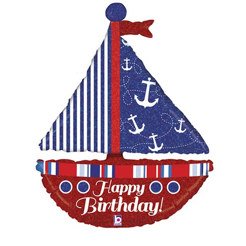 Nautical Birthday Sailboat Holographic Helium Foil Giant Balloon 94cm / 37 in Product Image