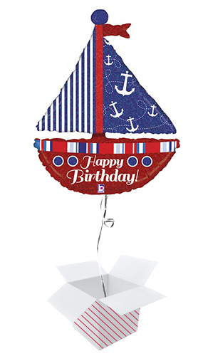 Nautical Birthday Sailboat Holographic Helium Foil Giant Balloon - Inflated Balloon in a Box Product Image