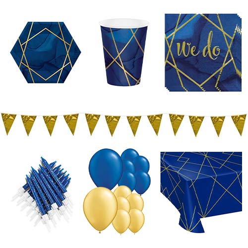 Navy & Gold Geode Wedding 16 Person Deluxe Party Pack Product Image