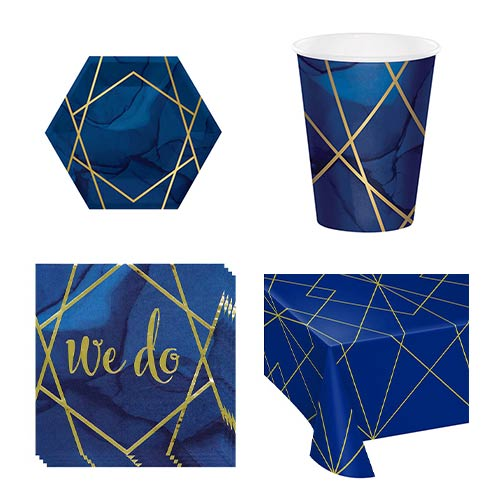 Navy & Gold Geode Wedding 8 Person Value Party Pack Product Image