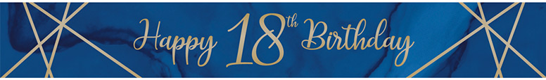 Navy & Gold Geode Age 18 Foil Banner 274cm Product Image
