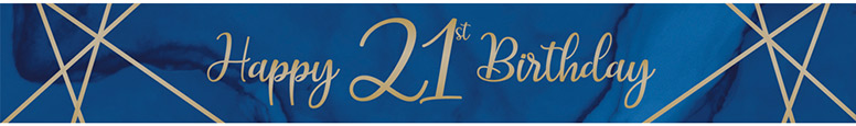 Navy & Gold Geode Age 21 Foil Banner 274cm Product Image