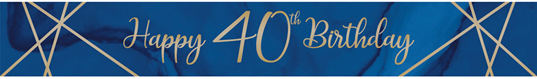 Navy & Gold Geode Age 40 Foil Banner 274cm Product Image