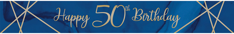 Navy & Gold Geode Age 50 Foil Banner 274cm Product Image