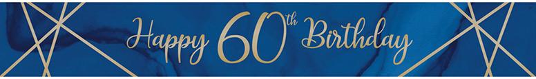 Navy & Gold Geode Age 60 Foil Banner 274cm