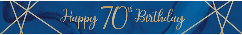 Navy & Gold Geode Age 70 Foil Banner 274cm Product Image