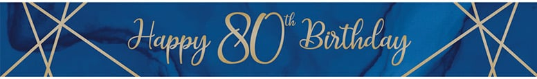 Navy & Gold Geode Age 80 Foil Banner 274cm Product Image