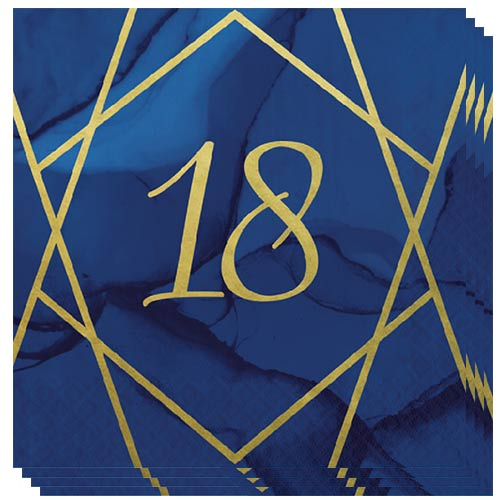 Navy & Gold Geode Foiled Age 18 Luncheon Napkins 33cm 3Ply - Pack of 16 Bundle Product Image