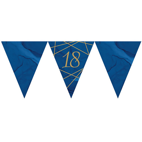 Navy & Gold Geode Foiled Age 18 Paper Flag Bunting 370cm