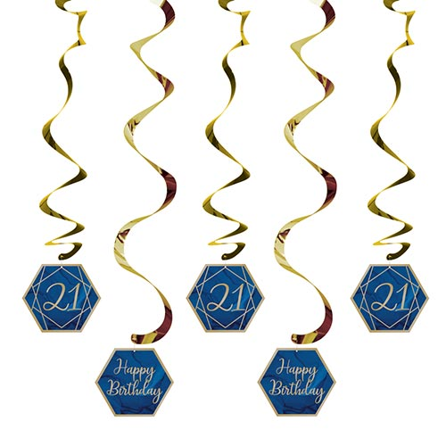 Navy & Gold Geode Foiled Age 21 Dizzy Danglers Swirl Hanging Decorations - Pack of 5 Product Image