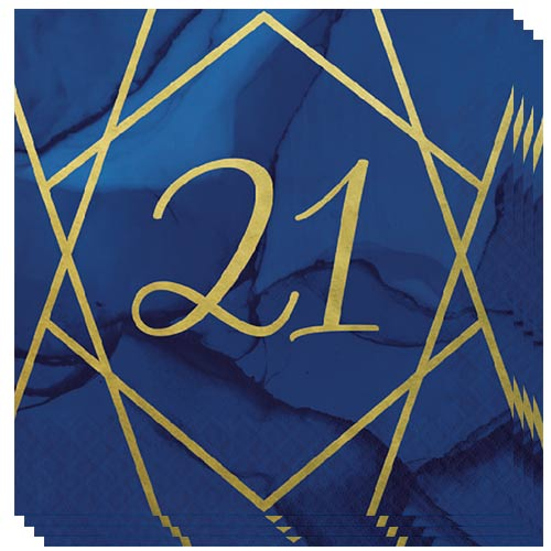 Navy & Gold Geode Foiled Age 21 Luncheon Napkins 33cm 3Ply - Pack of 16 Bundle Product Image