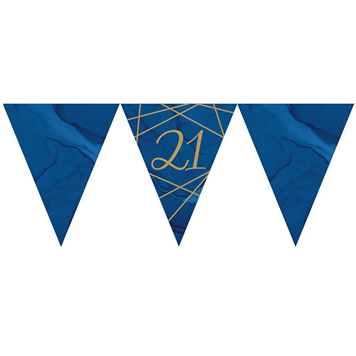 Navy & Gold Geode Foiled Age 21 Paper Flag Bunting 370cm Bundle Product Image
