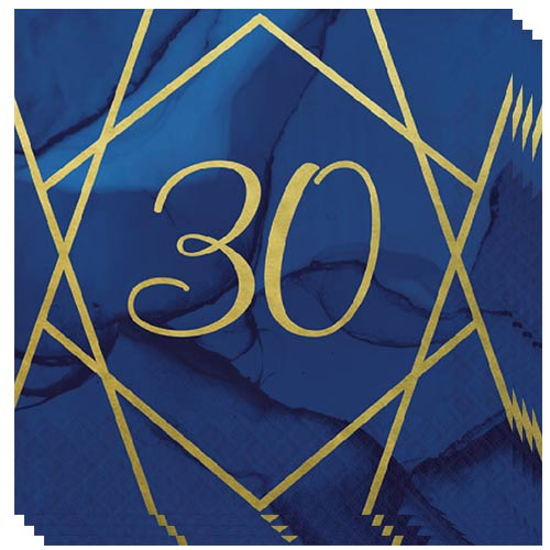 Navy & Gold Geode Foiled Age 30 Luncheon Napkins 33cm 3Ply - Pack of 16